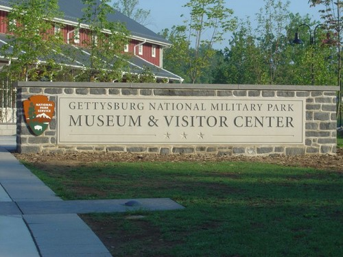Gettysburg national military park entrance sign